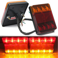 Wholesale Led Universal Truck Tail Lights - 2XWaterproof Car Truck Trailer Rear Led 8LED Tail Turn Indicator Stop Brake Light