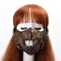 Wholesale Holloween Masks - 1pc Gothic Punk Steampunk Gear Mask Fashion Unisex Cosplay Rivet Face Mask Holloween Vintage Accessory Fast Shipment
