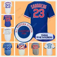 Wholesale Vintage Wine Cooler - Ryne Sandberg Jersey Vintage 1984 Flexbase Cool Base Chicago Cooperstown Jerseys White Blue Grey Cream