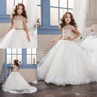 Wholesale Little Baby Princess - 2017 New Lovely Lace Princess Baby Girl Flower Girls' Dresses Sheer Crew Neck Little Cap Sleeves Backless Formal Girl's Pageant Dresses