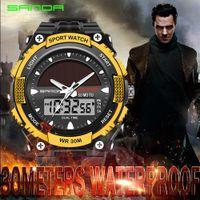 Wholesale Watch Solar - SANDA Solar Watch Men's Sports Military Digital Quartz Watch Solar Power Dual Time Sports Waterproof G Fashion Shock Watches