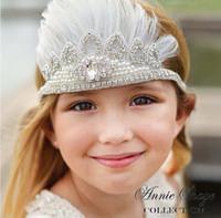 Wholesale Diamond Feather Headband - Luxury Girls Bohemia Glitter Crown Headband girls Feather Headbands Girls Baby Princess Diamond Beading Hair Accessories