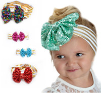 Wholesale hair band combs online - Baby Big Sequin Bows Bright striped Headbands Children Boutique Hair Bows head bands Kids hair bows hair accessories Christmas Party Gift