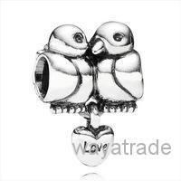 Wholesale European Bird Beads - Wholesale Fashion Couples Bird Kiss Charm 925 Sterling Silver European Charms Bead Fit Snake Chain Bracelet DIY Jewelry New9