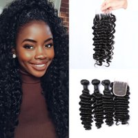 Wholesale Brazilian Knot Hair Extension - 3 Bundles With Closure Virgin Deep Wave Indian Curly Hair Extensions Lace Closure 4x4 Free Part Bleached Knots