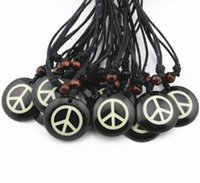 Wholesale Handmade Rope Necklaces - Hot Wholesale lot 12pcs Handmade Resin Carving Peace Sign Pendants Necklace Amulet Gift MN360