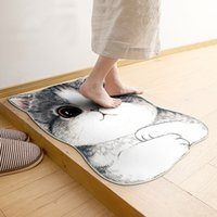 Kawaii Welcome Floor Mats Animal Dog Cat Shape Cuarto de baño Alfombras y alfombras de cocina Felpudos Cat Floor Mat para sala de estar Antideslizante Tapete