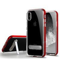 Para Iphone X Case Hybrid Clear Soft TPU Shockproof Back Cover com Kickstand Phone Case para Iphone X 8 8plus