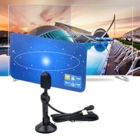 Wholesale Tv Mount Holder - Digital Indoor TV Antenna HDTV DTV Box Ready HD VHF UHF Flat Design High Gain HD TV DTV Box with Stand Mount Holder