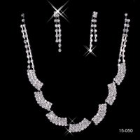 Wholesale Elegant Women Accessories - 15050 In Stock New Earrings Necklace Jewelry Sets Cheap Fashionable Women Elegant Rhinestone Shining Evening Prom Occasion Accessories