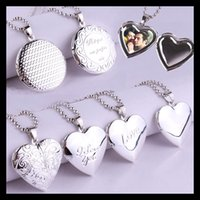 Wholesale 925 Locket Heart - HOT 2016 Fashion 925 Sterling Silver Plated Living Locket Pendant Necklaces I LOVE YOU Heart Letter Necklace With Beads Chain
