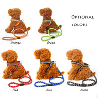 Wholesale Weave Dog Leash - 2*120Cm Dog Adjustable Collar Lead Reflective Light Harness Collar Leash Woven Round Leashs For Medium Big Size Pets Applies Multi Colors