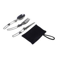 ingrosso forchetta pieghevole in acciaio inox-All'ingrosso-All'aperto Campeggio tavolo da picnic in acciaio inox pieghevole coltello e forchetta cucchiaio utensili da cucina all'aperto Tablewares