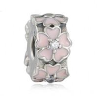 gümüş çiçek klibi toptan satış-Pembe Primrose Klip Charms Boncuk Otantik 925 Ayar-Gümüş-Takı Emaye Çiçek Stoper Kilit Boncuk DIY Marka Logo Bilezikler Aksesuarları
