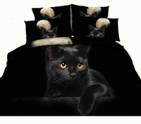Wholesale Animal Twin Bedding - Moon Black Cat 3D Reactive Printed Bedding Sets Twin Full Queen King Size Bedspreads Bedclothes Duvet Covers Pillow Shams Comforter Animal