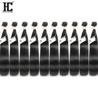 уток для наращивания волос цены оптовых-HC волос оптовая цена 10 Пучков норки бразильские девственные волосы прямые 100% необработанные человеческие волосы машина расширения двойные утки