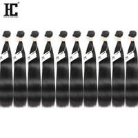 üst bakire saç uzantıları toptan satış-HC Saç Toptan Fiyat 10 Demetleri Vizon Brezilya Bakire Saç Düz% 100% İşlenmemiş İnsan Saç Uzantıları Makine Çift ...
