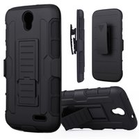Wholesale Shell Holster Combo - For ZTE Grand X3 Z959 Shockproof Future Armor Cases Impact Hybrid Hard Case Cover + Belt Clip Holster Kickstand Combo PC Silicone Shell