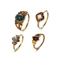 4 Pieces / Set Turco Retro Gem Stones Joint Knuckle Nail Midi Ring Set Trendy Boho Ring Set Golden Fashion Jewelry D20S