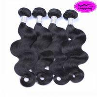 16 inç peru saç toptan satış-9A Brezilyalı Bakire Saç Vücut Dalga Düz Işlenmemiş Insan Saçı Perulu Malezya Hint Kamboçyalı Vücut Dalga Düz 3 4 Demetleri Örgüleri