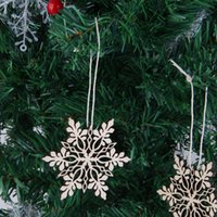 Wholesale wooden snowflakes - 10pcs Merry Christmas Tree Hanging Wooden White Snowflake Ornaments Decoration Christmas Holiday Party Home Restaurant Decoration 001