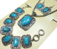 conjunto de pulseira de brincos azul venda por atacado-1 Conjunto Top Antique Silver Blue Stone Bracelet Brincos Colar 3 em 1 Jóias Lotes Conjuntos de Jóias Todo Frete Grátis LR287