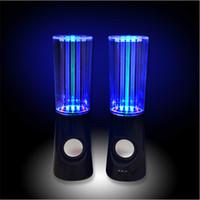 lampe de musique eau achat en gros de-Vente chaude Eau Musique Haut-Parleur 2 in1 USB Mini Haut-Parleur Coloré Eau-chute Show Sensor avec LED Lampe Lumière Danse Haut-Parleur