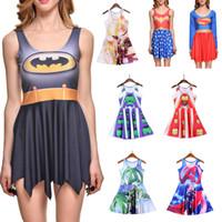 Wholesale Dc Dress - NEW 265 Style Girl Women Summer DC Comic The Avengers Batman Supermen 3D Prints Reversible Sleeveless Skater Pleated Casual Dress Plus size