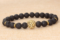 Wholesale 14k Gold Onyx Ring - Metal Buddha beads jewelry lava volcanic stone lion head bracelet men's women black bracelets