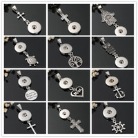 Wholesale silver bead necklace 12mm - Fashion DIY necklace 12mm Snaps Jewelry Metal Cross Anchor MOM Heart Fátima Palm Snaps Button Pendant Charms Noosa Findings Wholesale