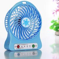 akü hava soğutucu toptan satış-Taşınabilir Şarj Edilebilir LED Işık Fan Hava Soğutucu Mini Masa USB 18650 Pil Fan Hava Soğutucu Çok Fonksiyonlu Fan