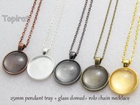 Wholesale Necklace Pendant Blanks - 1 Inch Round Pendant Trays, 25mm Round Cabochon Setting, Blank Pendant Setting + Rolo Chain Necklace + Clear Glass Cabochon