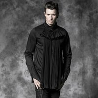 Wholesale Punk Rave Shirt - Wholesale-PUNK RAVE gorgeous fold Gothic black full sleeve shirt with fake bow ties