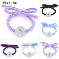 Charms VOCHENG NOOSA legami dei capelli Snap Bowknot Stretch 5 colori 18 millimetri intercambiabile Donne Accessori per capelli NN-479