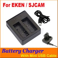 Wholesale Spare Battery Charger - For Original SJCAM EKEN camera Dual Slot Charger Battery Charger For Spare Battery For SJ4000 SJ5000 M10 Series H9 H9+ Sport Camera Free DHL