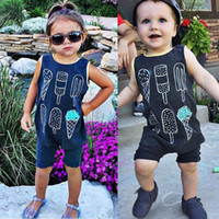 Wholesale Kid Clothing Logo - 2016 Newborn Infant rompers Kids Baby Boy Girl Cotton Jumpsuit ice cream logo printed Bodysuit round collar children boys girls top Clothes