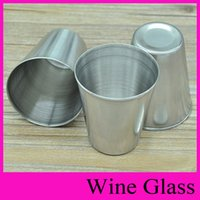 Wholesale Mini Drinking Glasses - 4 Size MINI S M L Wine Glass Hip Flasks Stainless Steel Cup for Spirit Drinking Vessel Drunkard Whisky Stoup Beer Mug Wineglass Oxhorn Flask