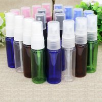 Wholesale Clear Plastic Pet Containers - 100pc 20ml blue green clear brown PET Bottles with clear black Spray Pump Container High-grade Empty Plastic Spray Bottle Refillable Perfume