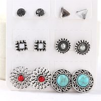Wholesale Turquoise Direct - Wholesale 6 pairs of earrings factory direct Retro Turquoise combination set earrings High quality stud earrings Christmas party jewelry