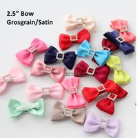 """Wholesale Stoned Hair Bow Wholesale - 2.5"""" Double layer bowtie bow with stone,girls gift bow.Holiday bow hair clips100pcs (Grosgrain Satin)"""