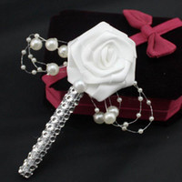 1PC HandMade Groom Boutonniere White Ribbon Rose Wedding Bouquet Flor Groomsmen Corsages Party Prom Man Suit Acessórios
