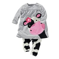 Wholesale Cow Neck Shirt - Hot Sale 2017 autumn baby girl clothes casual long-sleeved T-shirt+Pants suit Tracksuit the cow suit of the girls clothesbaby clothing set