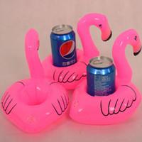 Wholesale Glass Bottle Holders - Pink Flamingo Floating Inflatable Drink holder Can Holder bottle holder cup holder bottle floats glass floats can floats cup floats