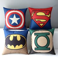 Wholesale Wholesale Sofa Sets Covers - DHL Cotton Linen Square Decorative Cushion Cover Sofa Throw Pillowcase Superman, Captain America, Spider Man 43*43cm Back Cushion Set