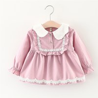 Wholesale Little Girls Lace Tops Wholesale - Lovely Girls U Ruffle Lace Dresses Tops 2017 Fall Kids Boutique Clothing Korean 1-5T Little Girls Cotton Long Sleeves Solid Dresses