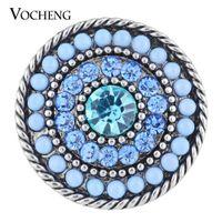 Wholesale Vintage Sunburst - VOCHENG NOOSA 18mm Sunburst Snap Charm 2 Colors Rhinestone Round Bead Vintage Button Vn-1119