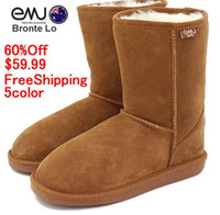 Wholesale Emu Mini - 2014NEW EMU Bronte Mini(W20002) Cow-Suede Genuine with 100% Wool inner Winter Snow Boots 5color emu02 gray