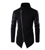 Wholesale Leather Sleeve Sweatshirt Men - New Men Spring Sweatshirts Zipper Hoodies Leather Patchwork Slim Male Coat Men Black Hoodies Cool Street Clothing
