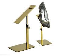 Wholesale Display Brackets - Metal Polished Gold Shoe Display Stand Riser shoe Bracket Metal Shoe Holder rack