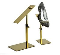 Wholesale Display Shoe Risers - Metal Polished Gold Shoe Display Stand Riser shoe Bracket Metal Shoe Holder rack